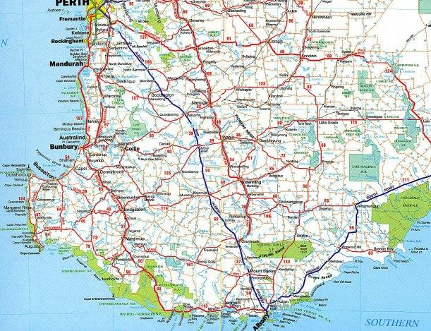 MAP southwest Australia