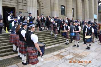 Great pipe band greeting us after the ceremony